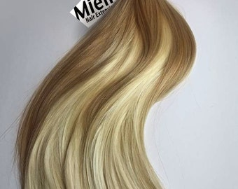 Medium Golden Blonde Balayage Tape In Hair Extensions  | Silky Straight Natural Human Hair | Seamless Tape Tabs | 20, 40, 60 & 80 Piece Sets