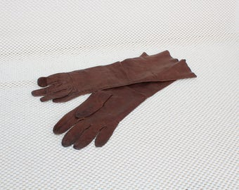 Womens Vintage Dark Brown Leather Gloves Size 7 made in Greece gloves long leather special womans gloves