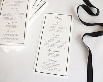 Black and White Modern Wedding Menu