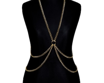 Gold Metal Body Chain Harness #VI - bodychains, bodychain, gold plated, metal