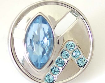 1 PC 18MM Blue Rhinestone Silver Candy Snap Charm ds5060 CC1358