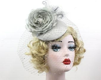 Steel Gray Birdcage Veil - Feather Fascinator - Bridal Veil - Bridal Hat - Wedding Veil - Blusher Veil - Crystal Veil - Classic Bridal -