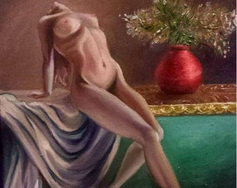 Original Oil Painting Female Figure Reclining Still Life