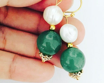 Freshwater Pearl & Green Aventurine Earrings