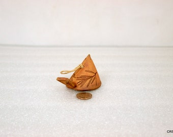 Clay bird bell ornament, handmade, vintage, unsigned