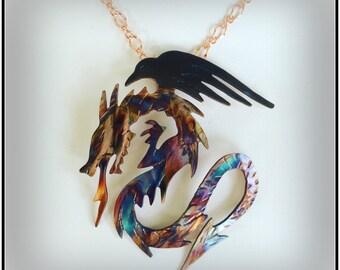 dragon jewelry, dragon raven, fire breathing dragon, dragon necklace, dragon pendant, raven jewelry, raven necklace, crow necklace