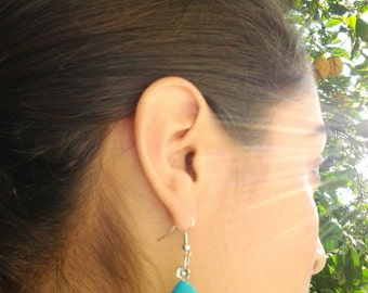 Turquoise Teardrop Silver Earrings with Little Flower / Howlite Turquoise Earrings / Gift for Her .