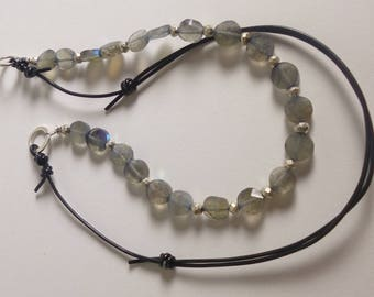 adjustable necklace - labradorite, pyrite, and pleather
