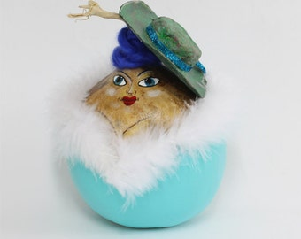 Hand Crafted Art, Gourd Art - Painted Gourd Ornament Christmas Ornament