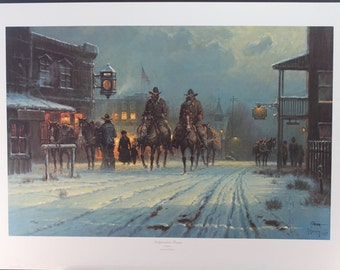 "G. Harvey, Texas Artist, Original Limited Ed. Lithograph Entitled, ""Independent Texans"", 1986, 644/1250/G. Harvey,Western Artist, Lithograph"