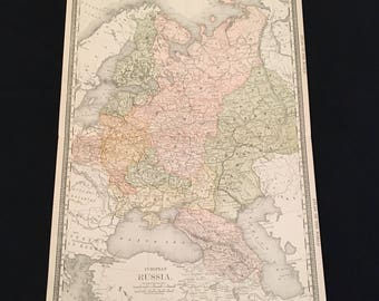 1887 Map of European Russia, Original Antique Map, Extra Large Map by Rand McNally