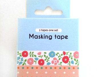 washi tape - adhesive tape - decorative masking tape - cardmaking tape - scrapbooking tape - gift wrapping - flowers & rhombus washi tape