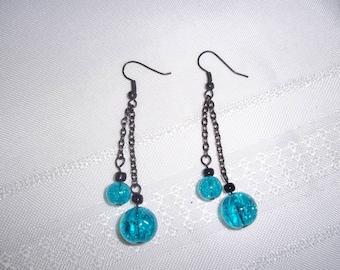 Turquoise Bubble Sphere Dangle Chain Fish Hook Earrings