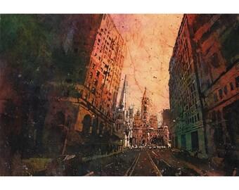 Painting of Phildelphia City Hall at dusk.  Philadelphia art.  Batik painting.  Philadelphia painting.  Fine art print batik painting