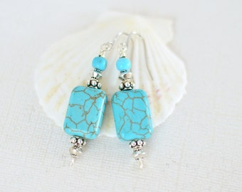 Turquoise Earrings - Boho Dangle Earrings - Bohemian earrings - Womens Gift - Hypoallergenic drop earrings - Blue Beaded earring - Wife gift