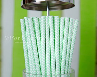 Mint Green straws Chevron Straws, Mint Wedding Paper Straw,Chevron Party Straws, Mint Green Baby Shower Straws, Chevron Mint Green Straws