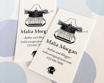 Writer business card etsy business card custom business card writer card set of 50 reheart Choice Image