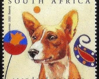 Basenji dog -Handmade Framed Postage Stamp Art 0628