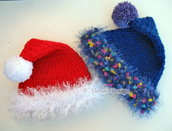 Crochet Pattern 096 Santa Hat from 0-3 months to Teen/Adult Christmas Hat Baby Toddler Children Teen Adult Winter Hat Pom-Pom Red White Blue