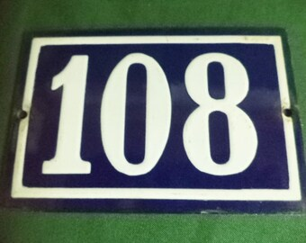 French Door Number, French House Number. Number 108, French Enamel,  French Vintage, Shabby Chic, Front Door Number, French sign