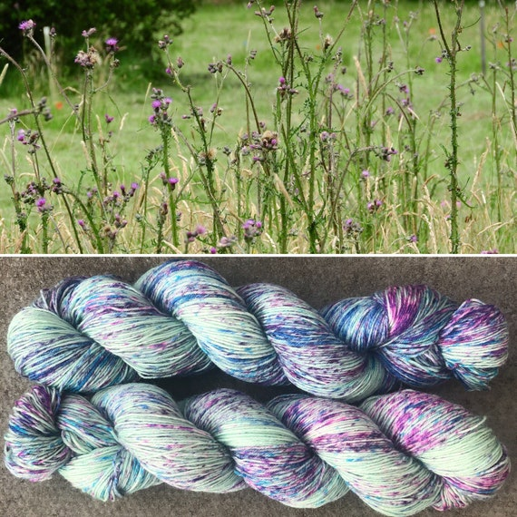 Thistles BFL, speckled indie dyed bluefaced leicester nylon sock yarn