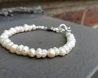White Popcorn Pearl Bracelet, Beach Wedding, Ocean Gems, Mermaid, Stacking Bracelet, Purity, Tropical, Sundance Style FREE USA SHIPPING