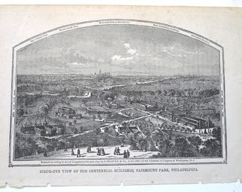 Centennial Buildings Fairmount Park Philadelphia antique etching 1875 Longacre paper scrapbooking ephemera print engraving original