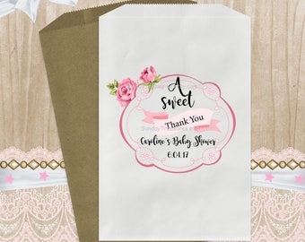 12 PAK A Sweet Thank You Baby Shower Candy Buffet Party Favor Bags / 5x7 / GIRL Pink / Popcorn Cookie Treat Favor Bag / Gift  / 3 Day Ship