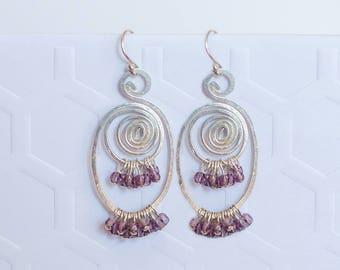 Dark Purple Earrings, Purple Earrings, Purple Cluster Earrings, Purple Statement Earrings, Violet Earrings, Amethyst Earrings, Gift for Wife
