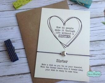 Sister Friendship Bracelet, Sister Gift, Sister Heart Bracelet, Sister Card, Gift for Sister, Sister Birthday, Sister Wish, Bracelet