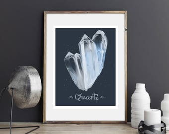 Wall Art Print, Quartz Illustration, Typography, Crystals Drawing
