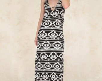 Printed Maxi Dress with Leg Slit