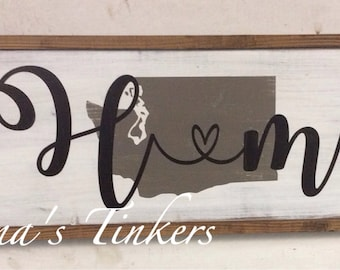 Home state sign. Home sign, personalize. Painted wood sign