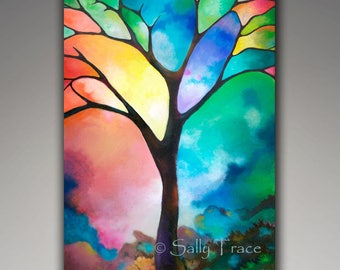 Charming Original Painting, Tree Of Life Art, Abstract Painting, Mixed Media  Painting, Tree