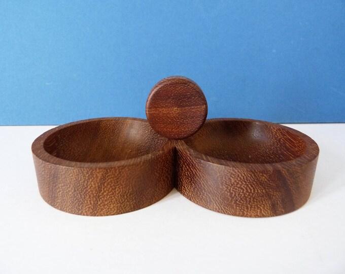 Vintage teak pin dish herb salt bowl