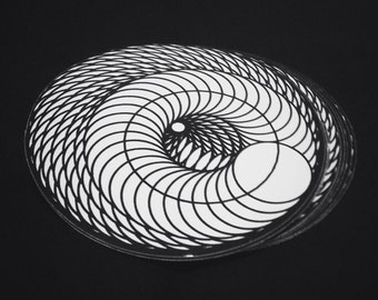 Infinite Spiral Sacred Geometry Sticker 3x3 Vinyl Circle Black & White Art Decal