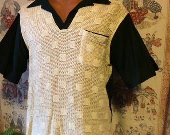 Men's vintage fifties pullover black and off white shirt
