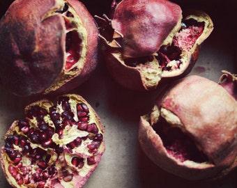 "Pomegranate Still life - Rustic Farmhouse - Kitchen Wall Art - Food Photography - Red Mauve Wall Art  ""Faded Fruit"""