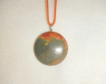 Round Multi-colored Picasso Jasper pendant necklace (JO423)