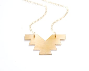 Geometric Phoenix Necklace | Brass Necklace | 14k Gold Filled Necklace | Sterling Silver Necklace | Geometric Necklace