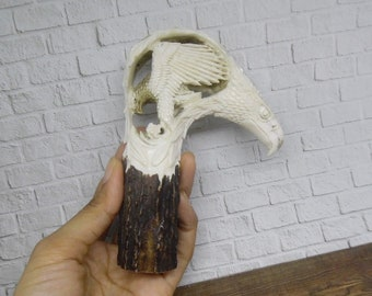 FALCON Eagle  Handle Knive Knife Walking Stick Cane from antler carved