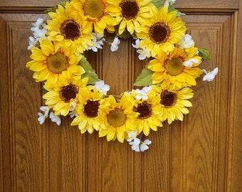 12 inch Silk Sunflower Wreath