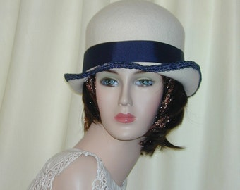 Custom Convertible handmade 5 in 1 cloche bowler - Downton Abbey hat, Miss Fisher, Great Gatsby hat