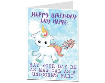 Personalised Unicorn Card. Unicorn Birthday Card. Funny Unicorn Card. Unicorn Card For Her Friend Daughter. Unicorn Gift