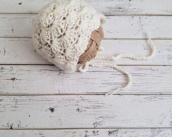 Baby Girl Bonnet, Newborn Bonnet, Baby Bonnet, Alpaca Bonnet,  Bonnet Photo Prop, Baby Girl Crochet, Christening Bonnet, MADE 2 ORDER