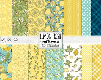 Lemon Digital Paper, Blue Gingham, Polkadot Yellow Patterned Backgrounds, Summer Picnic, Citrus Digital Scrapbooking Paper, Instant Download