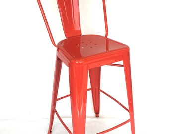 """Custom Tolix Style High Back Chair Bar Counter Stool in 24"""" Seat Height Custom Painted In the color of Your Choice"""