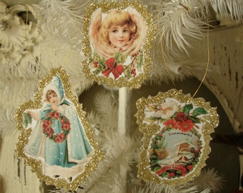 Victorian Christmas ornaments paper angels gold glittered christmas decor paper ornaments hostess gifts