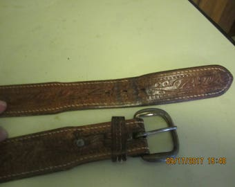 Vintage Hand Tooled Leather Belt Western Brass Buckle