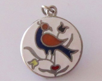 Silver Enamel Bird Pennsylvania Dutch Hex symbol Charm.